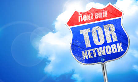 resisting: tor network, 3D rendering, blue street sign