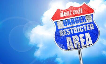 Restricted area sign with some smooth lines, 3D rendering, blue street sign