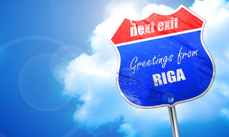 Greetings from riga with some smooth lines, 3D rendering, blue street sign Stock Photo