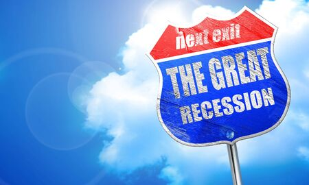 Recession sign background with some smooth lines, 3D rendering, blue street sign Stock Photo