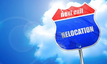 relocation: relocation, 3D rendering, blue street sign Stock Photo