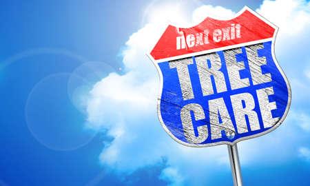 cuidado de los árboles, 3D, señal azul calle