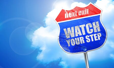 risks ahead: watch your step, 3D rendering, blue street sign Stock Photo