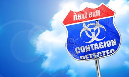 contagion: contagion concept background with some soft smooth lines, 3D rendering, blue street sign
