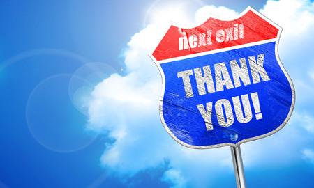 agradecimiento: gracias, representación 3D, calle señal azul Foto de archivo