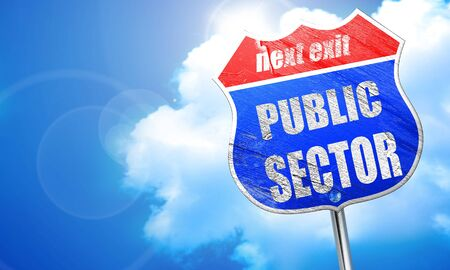 sector: public sector, 3D rendering, blue street sign Stock Photo