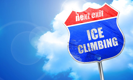 recreational climbing: ice climbing sign background with some soft smooth lines, 3D rendering, blue street sign