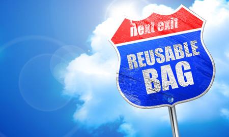 reusable: reusable bag, 3D rendering, blue street sign