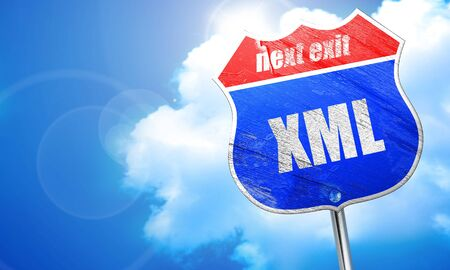 xml: , 3D rendering, blue street sign