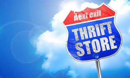thrift: thrift store, 3D rendering, blue street sign