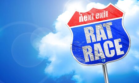 downshift: rat race, 3D rendering, blue street sign Stock Photo