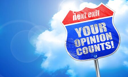 counts: your opinion counts, 3D rendering, blue street sign