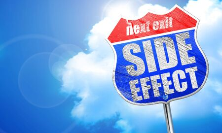 side effect, 3D rendering, blue street sign Stock Photo