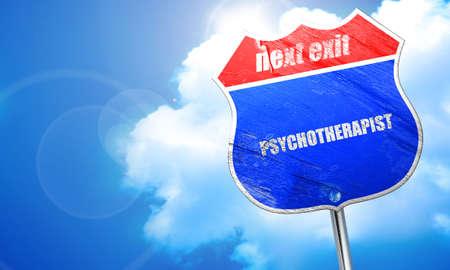 clinical psychology: psychotherapist, 3D rendering, blue street sign