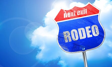 rodeo, 3D rendering, blue street sign Stock Photo