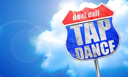 3d dance: tap dance, 3D rendering, blue street sign