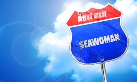 seawoman, 3D rendering, blue street sign Stock Photo