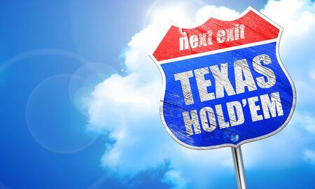 texas holdem, 3D rendering, blue street sign