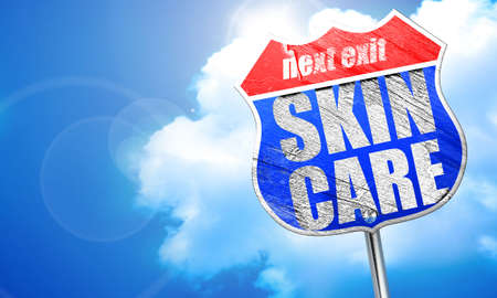 skin care, 3D rendering, blue street sign