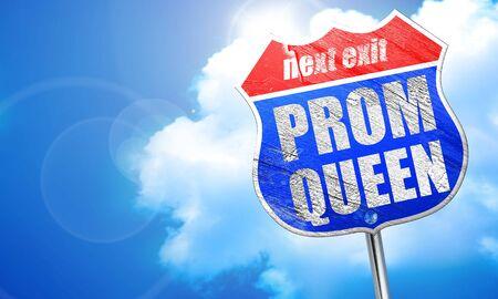 prom queen: prom queen, 3D rendering, blue street sign Stock Photo