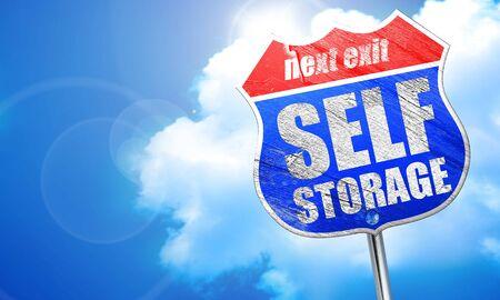 storage: self storage, 3D rendering, blue street sign Stock Photo
