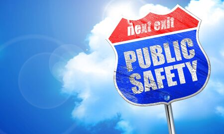 public safety, 3D rendering, blue street sign Stock Photo