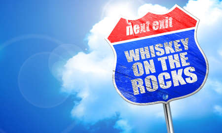 whiskey on the rocks: whiskey on the rocks, 3D rendering, blue street sign Stock Photo
