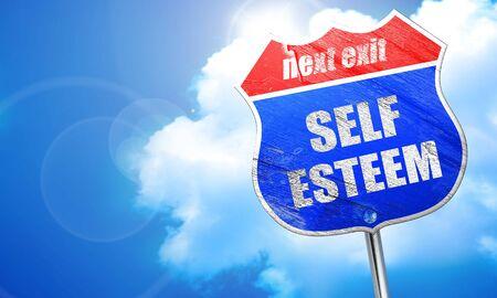 self worth: self esteem, 3D rendering, blue street sign
