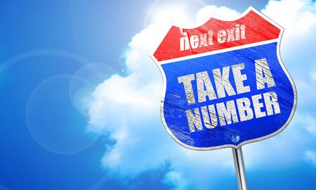retailer: take a number, 3D rendering, blue street sign