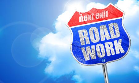 road work: road work, 3D rendering, blue street sign Stock Photo