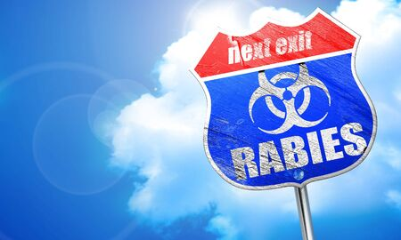 Rabies virus concept background with some soft smooth lines, 3D rendering, blue street sign