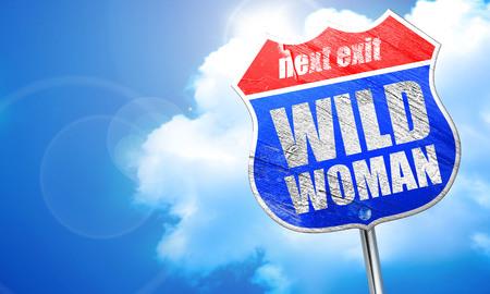 wild woman, 3D rendering, blue street sign