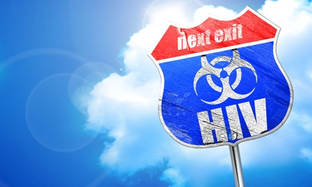 Aids virus concept background with some soft smooth lines, 3D rendering, blue street sign