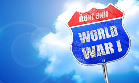 world war 1: World war 1 background with some smooth lines, 3D rendering, blue street sign Stock Photo