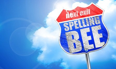 spelling bee, 3D rendering, blue street sign Stock Photo