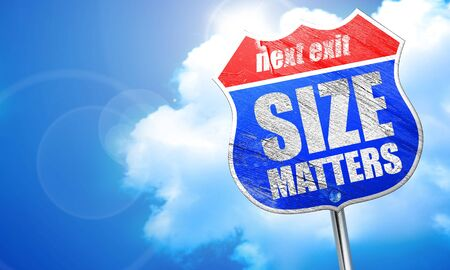 favoring: size matters, 3D rendering, blue street sign