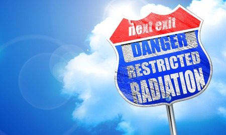 chemical warfare: Nuclear danger background on a grunge background, 3D rendering, blue street sign