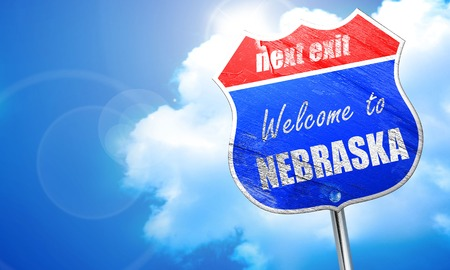 nebraska: , 3D rendering, blue street sign