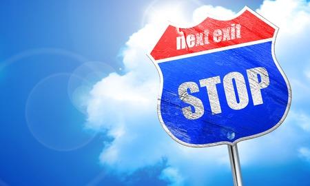 slow down: stop, 3D rendering, blue street sign