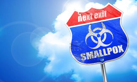 smallpox: smallpox concept background with some soft smooth lines, 3D rendering, blue street sign Stock Photo