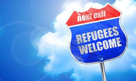 international crisis: refugees welcome, 3D rendering, blue street sign