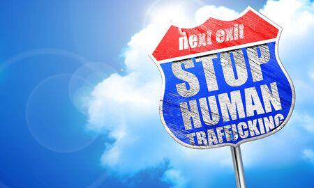 trafficking: stop human trafficking, 3D rendering, blue street sign