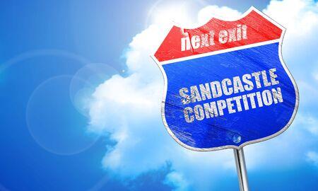 sandcastle: sandcastle competition, 3D rendering, blue street sign Stock Photo