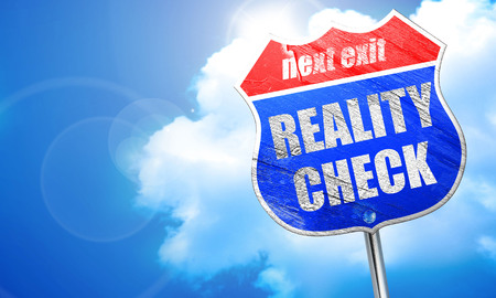 reality check, 3D rendering, blue street sign Stock Photo