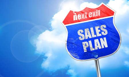 sales plan, 3D rendering, blue street sign Stock Photo