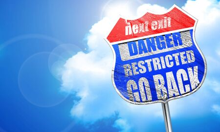 no pase: Go back sign with some smooth lines, 3D rendering, blue street sign