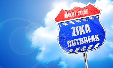 quarantine: Zika virus concept background with some soft smooth lines, 3D rendering, blue street sign Stock Photo