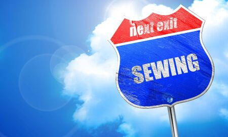 cloth manufacturing: sewing, 3D rendering, blue street sign