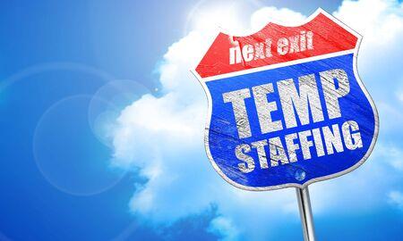 temp staffing, 3D rendering, blue street sign