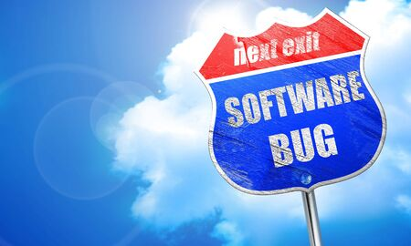 Software bug background with some soft smooth lines, 3D rendering, blue street sign